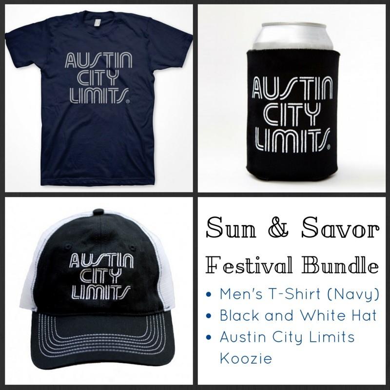 Men's T-Shirt (Navy) + Black And White Mesh Trucker Hat + ACL Koozie
