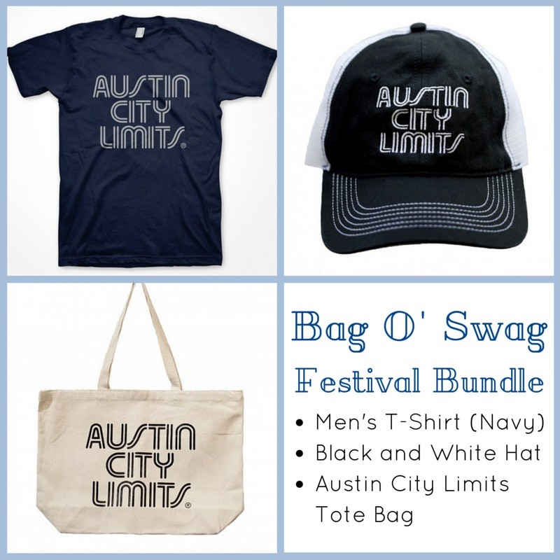 Men's T-Shirt (Navy) + Black And White Mesh Trucker Hat + Tote Bag Bundle