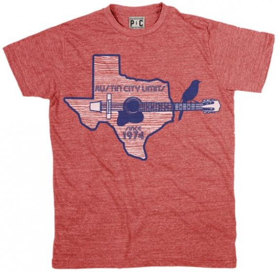 Mens Heather Red Shirt w/ Texas Guitar Outline