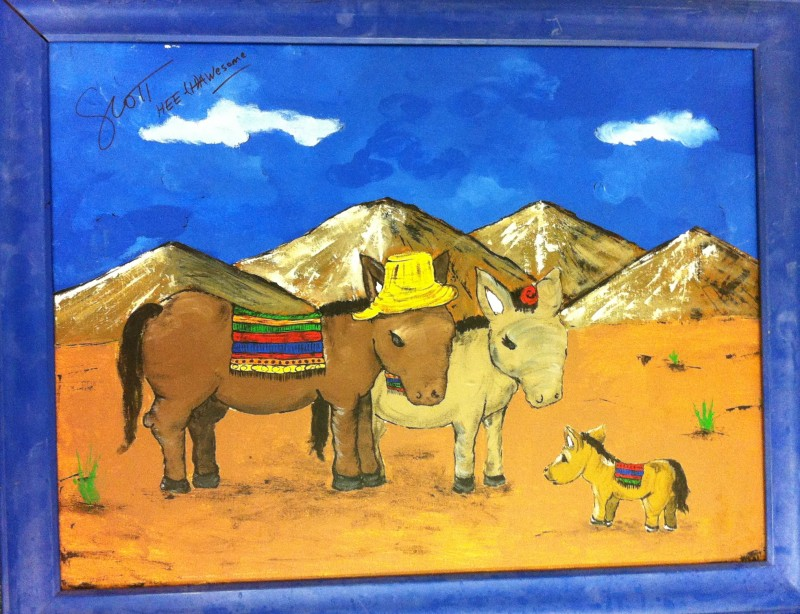 Burro Family Painting signed by Scott