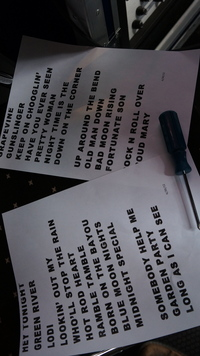 Setlist from Helsinki Finland 2012