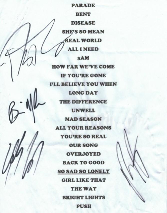 Sept 2012 Shepherds Bush Empire Autographed Set List