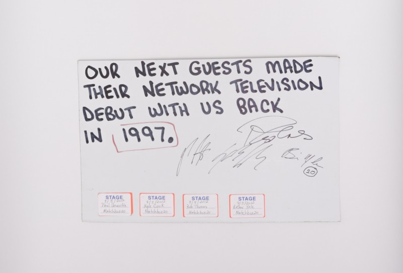 Queue Card From Sept 2012 Letterman Show Autographed by MB20