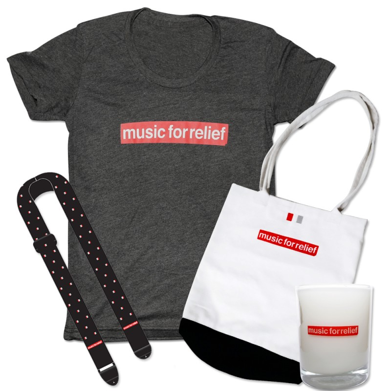 T-Shirt (Women's) + Black Guitar Strap + Candle + Tote Bag