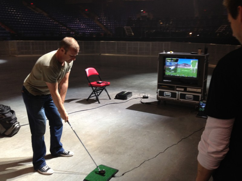 Finding time to work on our swing during rehearsal for tonight's show in Moline.