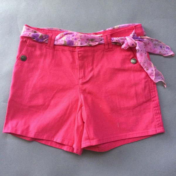Bright Pink Jean Shorts w/ Floral Scarf Belt