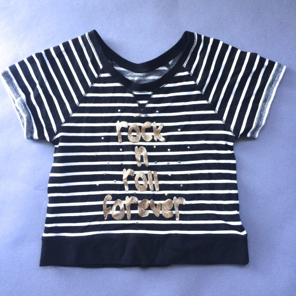 Striped 'Rock & Roll Forever' Shirt by Dream Out Loud (Small)