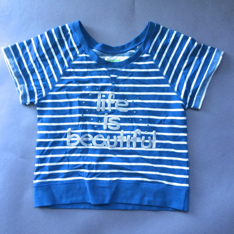 Striped 'Life is Beautiful' Shirt by Dream Out Loud (Small)