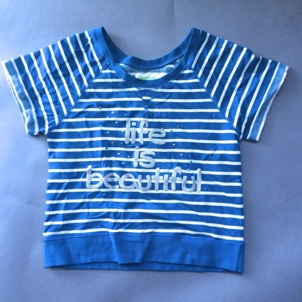 Striped 'Life is Beautiful' Shirt by Dream Out Loud (Small) image