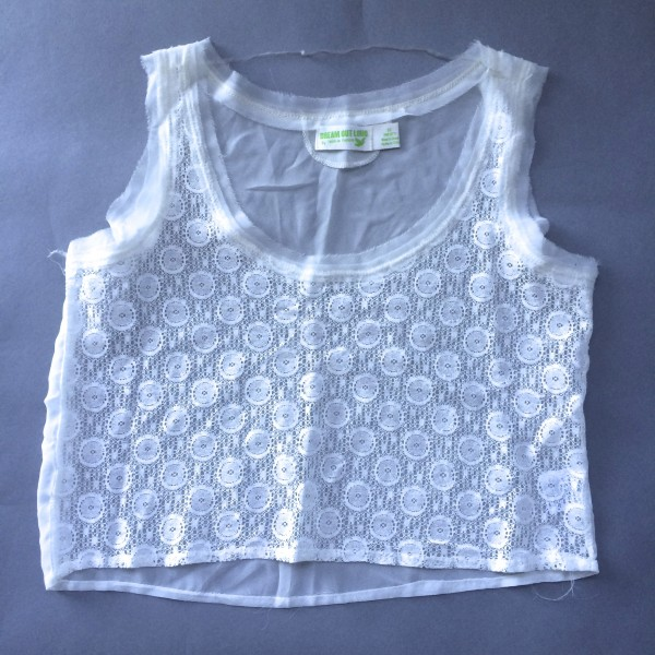 Sheer, White Crop Top by Dream Out Loud (Small) image