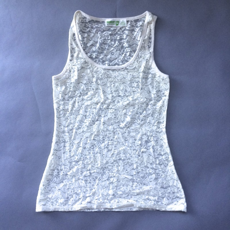 Cream, Lace Tank Top by Dream Out Loud (Small)