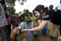 Selena meets some children in Ghana on her first UNICEF field mission