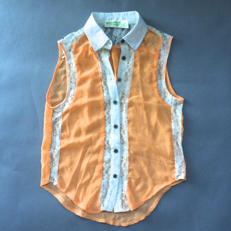 Orange Sheer Collared Tank Top by Dream Out Loud (Small)