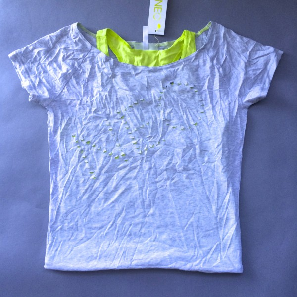 Grey Shirt w/ Built In Lime Green Tank Top by NEO (Small)
