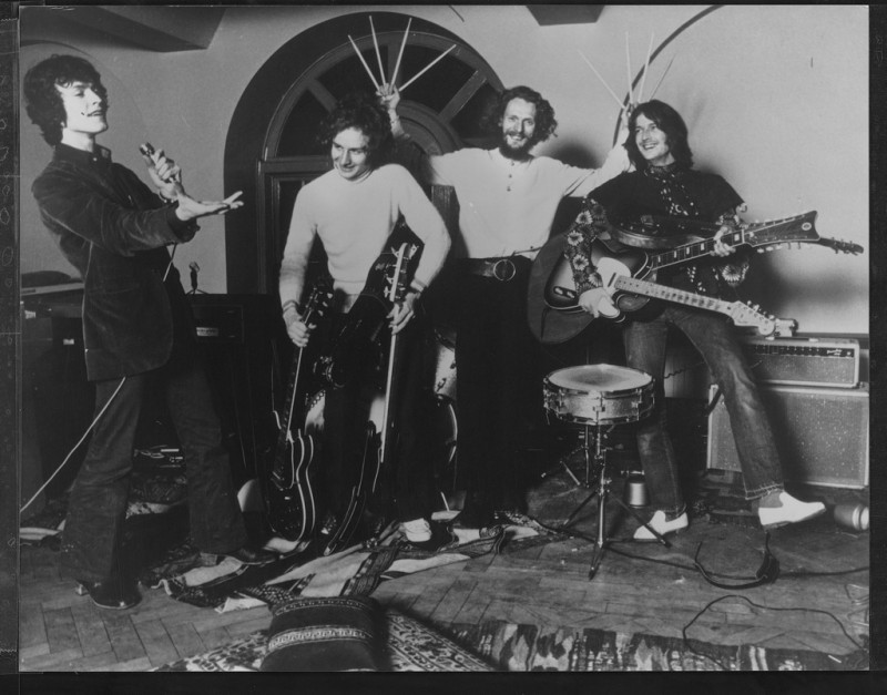 Blind Faith Rehearsals, 1969 (L to R): Steve Winwood, Ric Grech, Ginger Baker, Eric Clapton