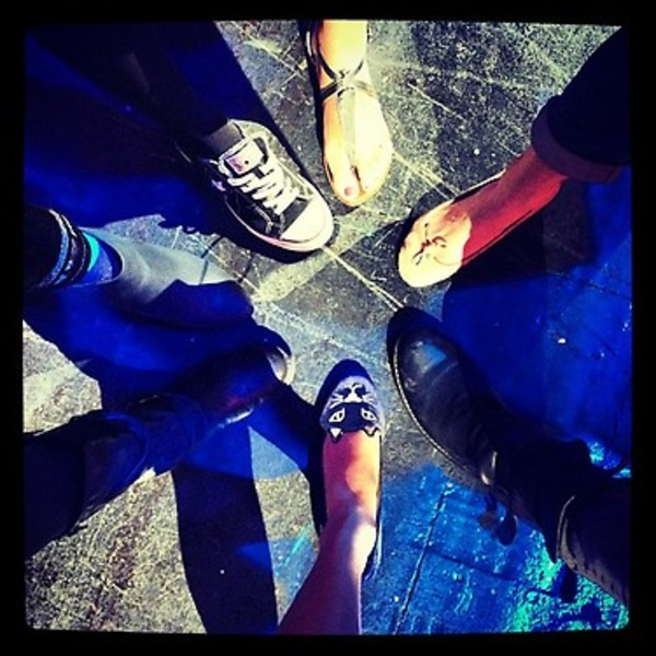 Seven days until RED- seven band members' feet.