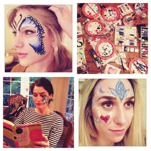Evidently, it was 'face paint Wednesday' last night. ash drew a unicorn on Claire Winter's face. Impressed.